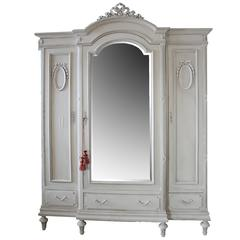 Antique Painted French Country Armoire in the Louis XVI Style