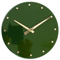 Green Modernist Brass Wall Clock by Franz Hagenauer, Austria, 1960s