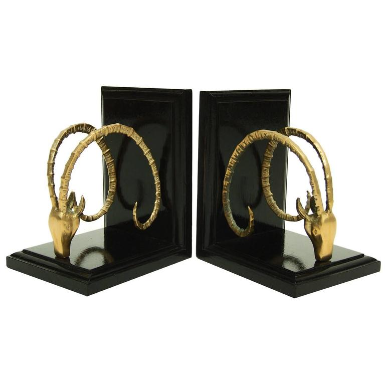 Pair of 1950s Brass Ram's Head Bookends 1