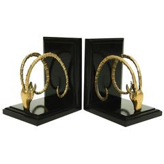 Pair of 1950s Brass Ram's Head Bookends