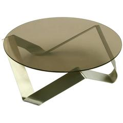 1970s French Bent Steel and Glass Coffee Table in the Style of Monnet