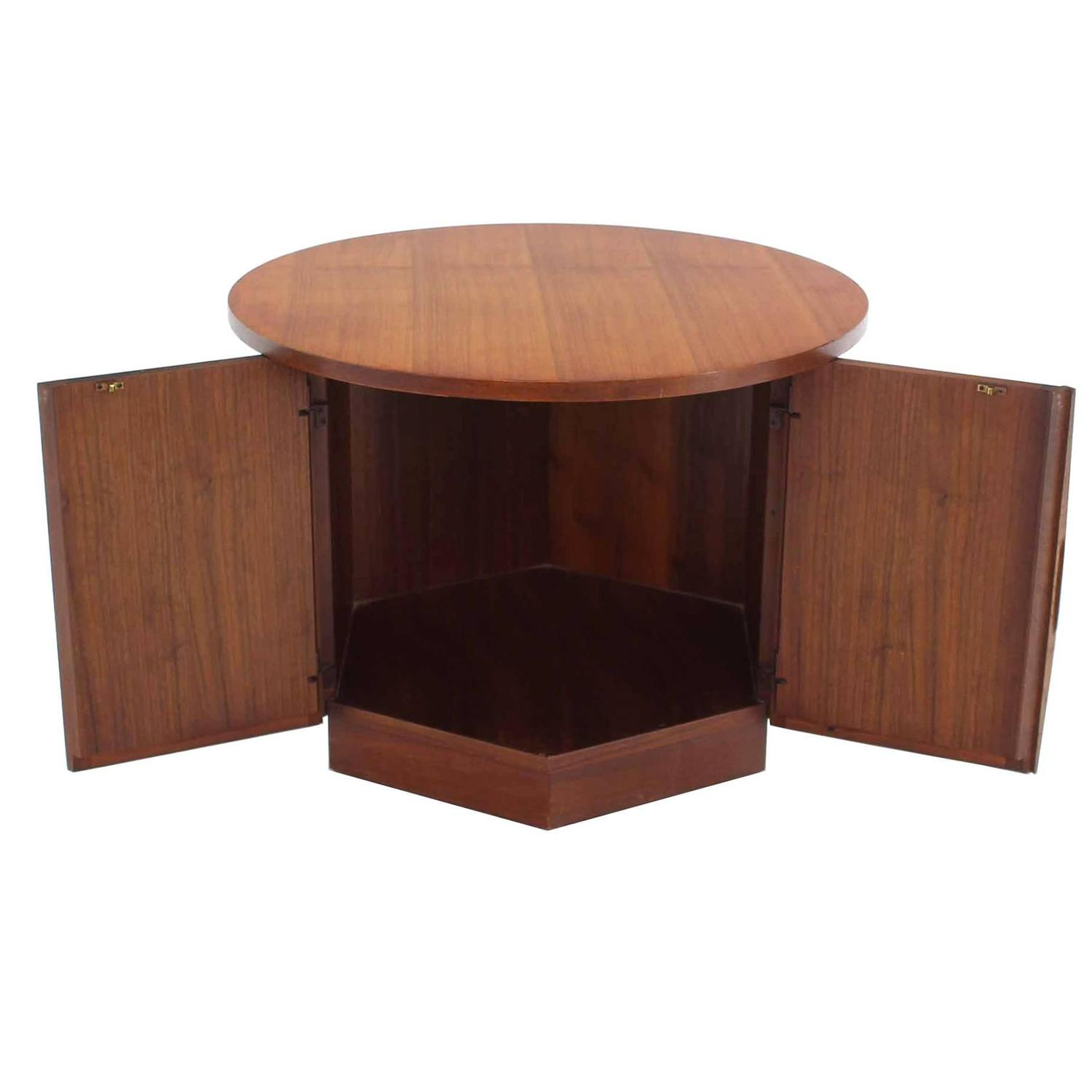 Hexagon Storage Base Round Top Walnut Side Table At 1stdibs