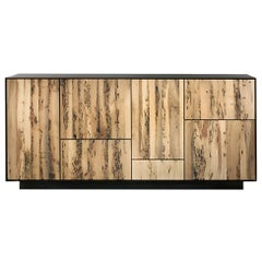 Sideboard Modular in Massive Natural Walnut  with Five Doors and Four Drawers
