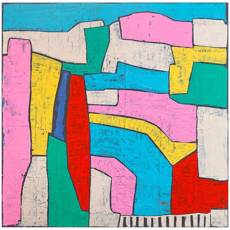 'All Roads Lead to Roads' Abstract Landscape Painting by Alan Fears Pop Art 1