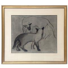 Framed Charcoal Drawing of Cats by Roger Derieux