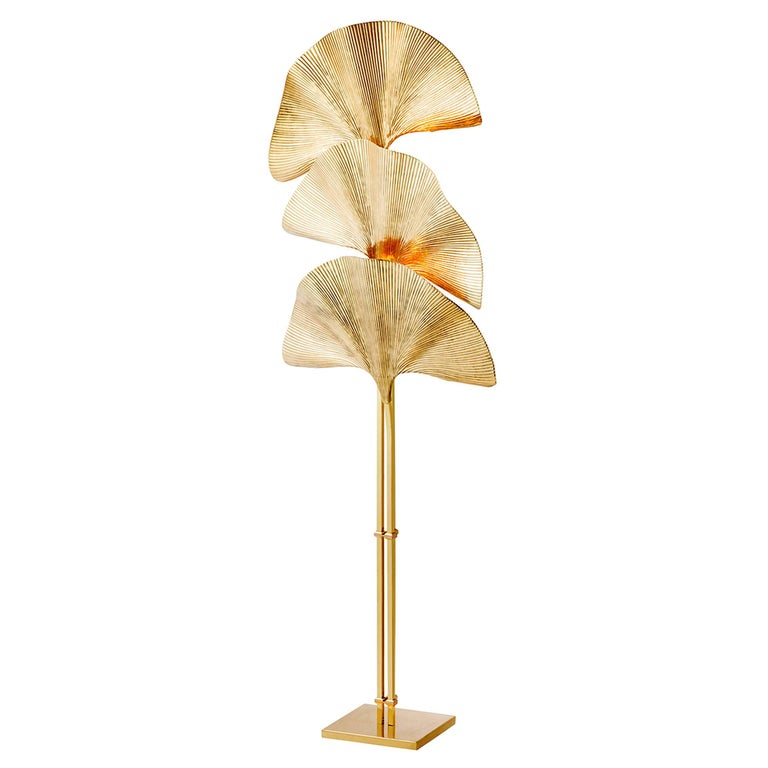 Ginko Biloba Floor Lamp in Polished Brass For Sale