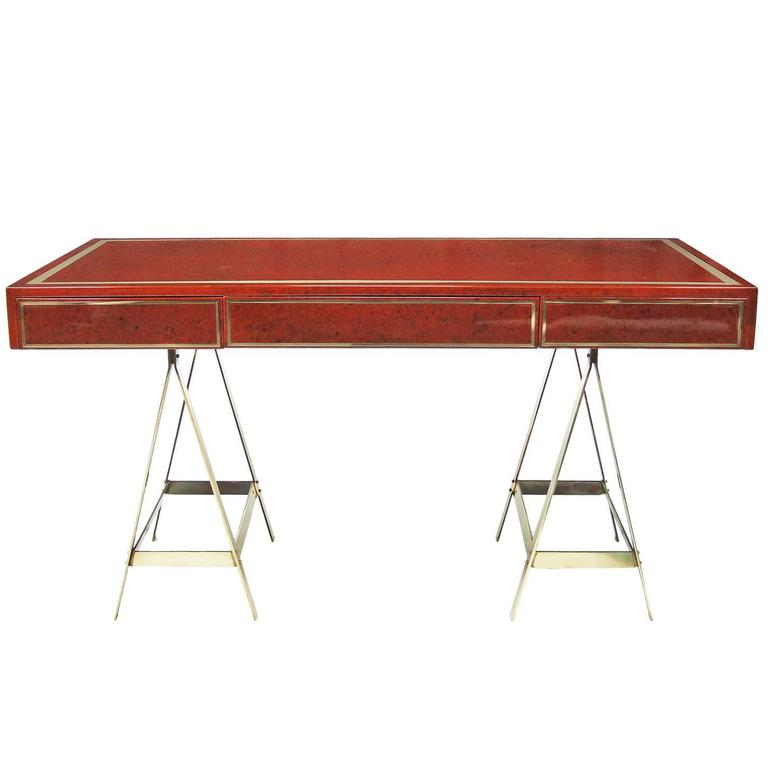 1970s Red Lacquered Albrizzi Desk with Brass Trestle Legs and Inlay
