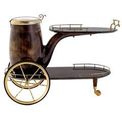 Aldo Tura 'Pipe' Bar Cart in Lacquered Goatskin