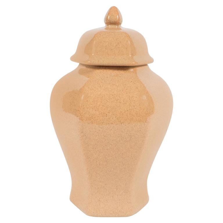 Mid-Century Modernist Ceramic Sand Colored Glazed Ginger Jar by Tiffany & Co