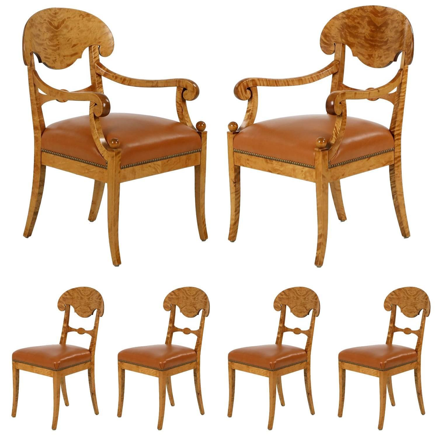 Fine Set of Six Biedermeier Style Birch and Leather Dining Chairs