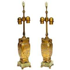 Pair of Etched Gilt Bronze Vases Mounted as Lamps