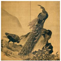 Male and Female Peacock, Two Panel Folding Screen Painting
