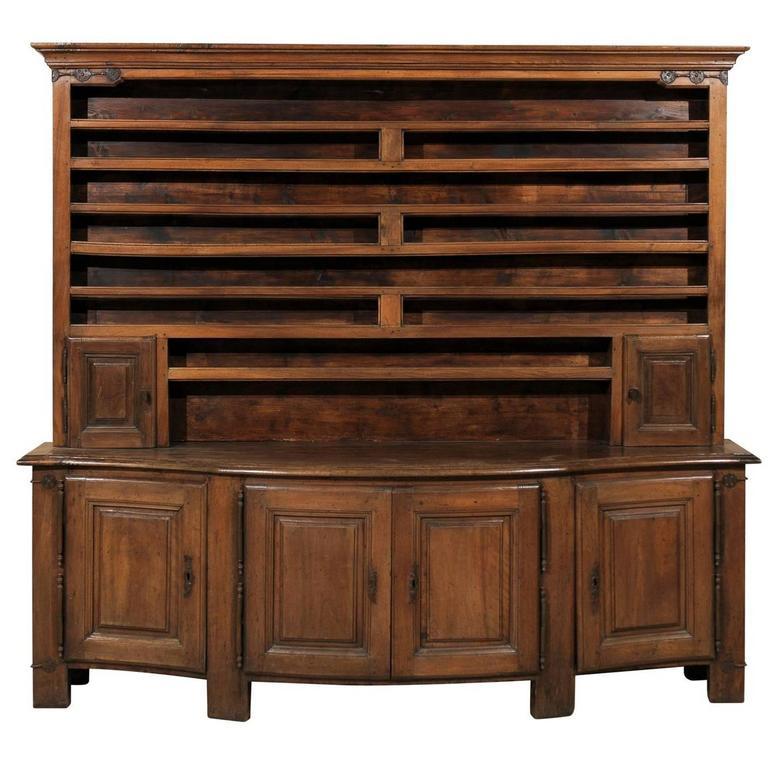 English 19th Century Wooden Vaisselier / Storage Cabinet with Serpentine Front