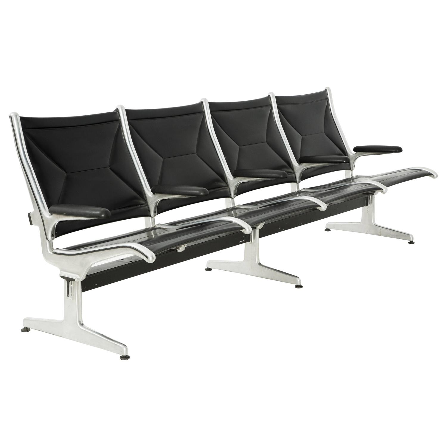Tandem Sling by Ray and Charles Eames for Herman Miller Four Seat