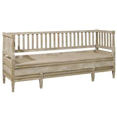 A Swedish Late Gustavian Period Sofa Bench from the 19th Century with Back Slats