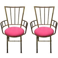 Pair of Italian Brass Bamboo Armchairs