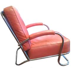 Chromed Art Deco Lounge Chair, 1936