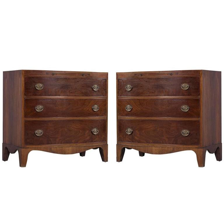 Pair Of Charak Furniture Co. Bow Front Mahogany Commodes