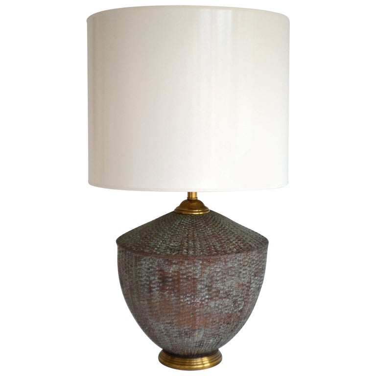 Woven Copper Basket Form Table Lamp