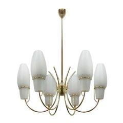 Opaline Glass Brass Chandelier, Italy 1950s