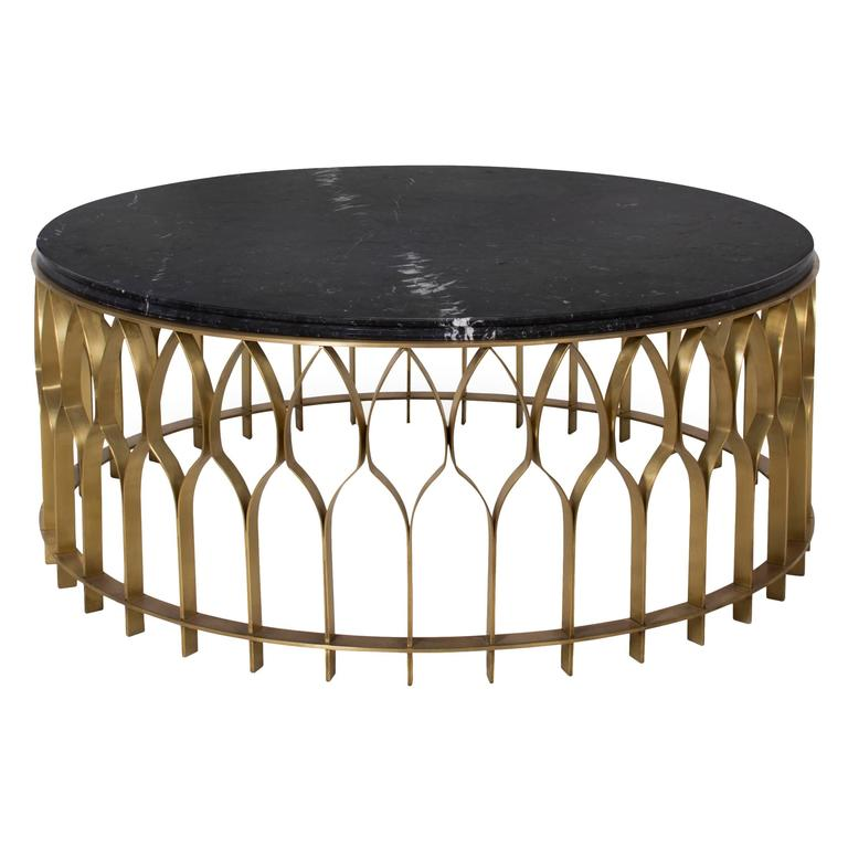 European modern black marble and brushed brass round for Center table coffee table