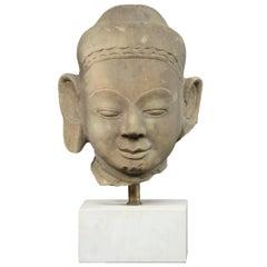 Buddha Head, Sandstone, Burma 17th-18th Century