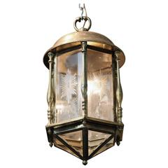 1950s Brass Lantern with Etched and Beveled Glass