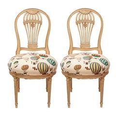 Maison Jensen Balloon Chairs Upholstered in Fornasetti Balloon Fabric, Pair