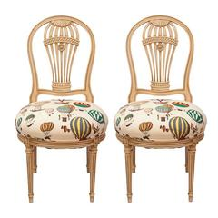 Maison Jensen Balloon Chairs Upholstered in Fornasetti Balloon Fabric, Pair