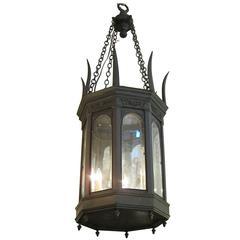 1900s American Gothic Octagon Bronze Lantern with Beveled Glass Pendant