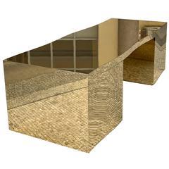 Wave Desk by Gabriella Crespi, brass over wood
