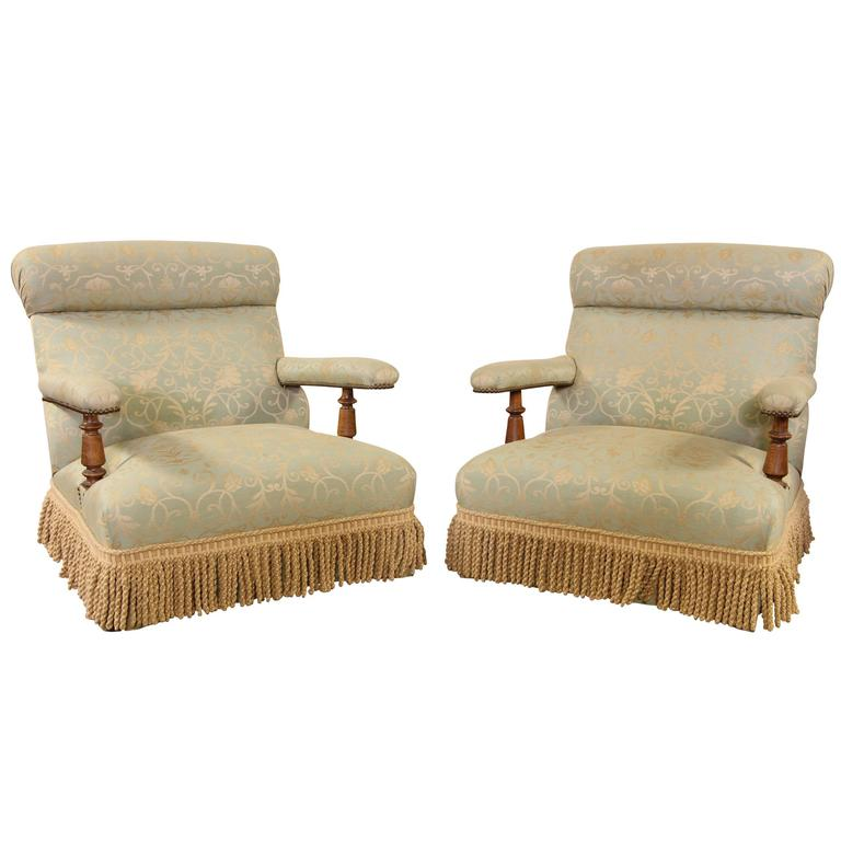Pair of Mid-19th Century Walnut Lolling Chairs