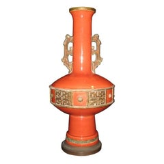Large Pottery Lamp in the Style of James Mont
