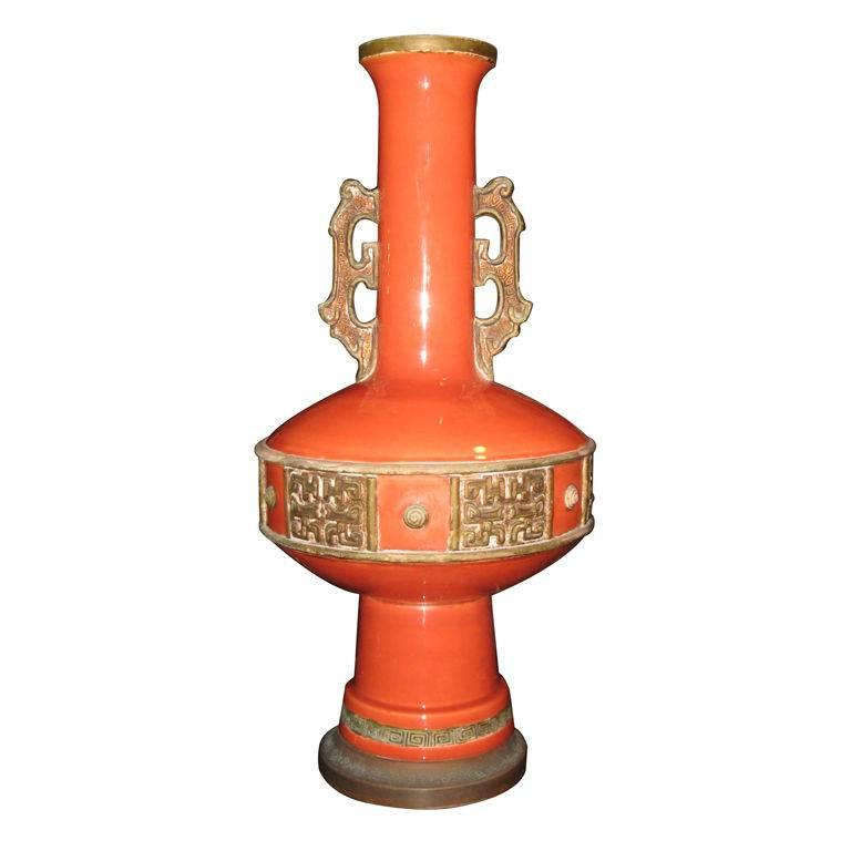 Large Pottery Lamp in the Style of James Mont For Sale