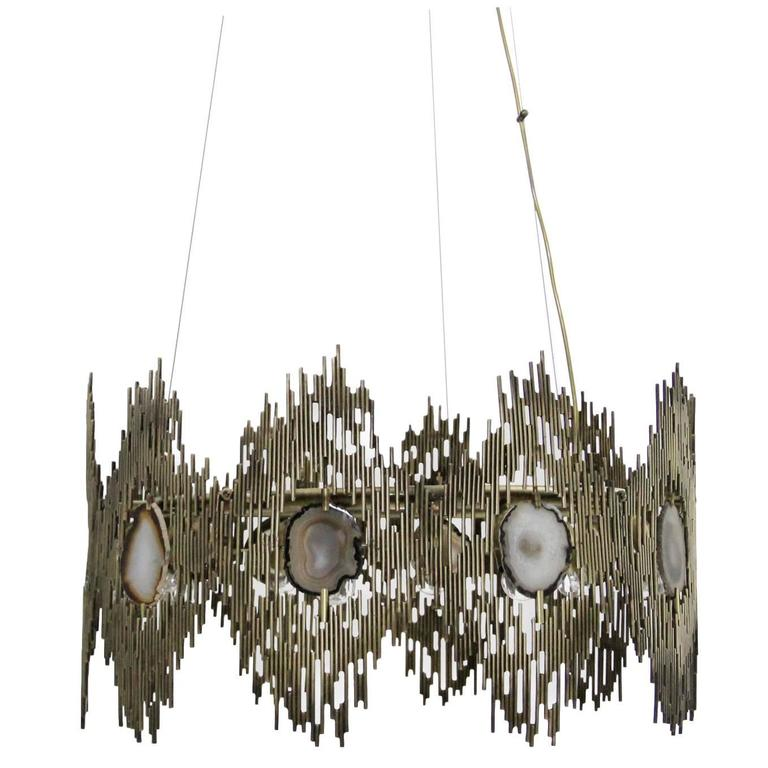 European Gold and Agate Stone Vintage Inspired Chandelier by Koket 1