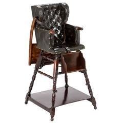 Delightful Original Edwardian Oak Metamorphic Childs High Chair.