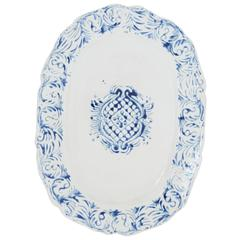 Handprinted Blue and White Large Oval Serving Platter