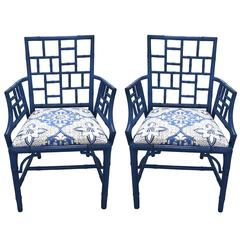 Pair of Blue Chinese Chippendale Style Armchairs