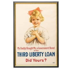 "World War I Vintage Propaganda Poster, ""My Daddy"" Third Liberty Loan, circa 1917"