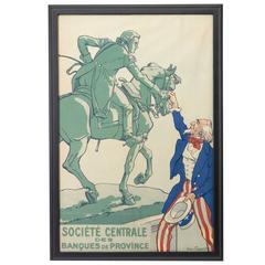 """""""Société Centrale Des Banques De Province"""" WWI French Poster by Courboin, 1918"""