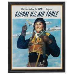 """Global U.S. Air Force"" Korean War Poster by Norman Rockwell, circa 1950"