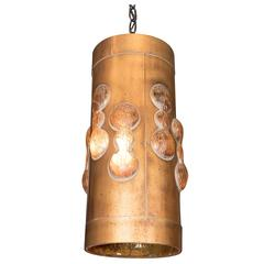 Mid-Century Gilt Metal Cylindrical Pendant Fixture with Amber Colored Resin
