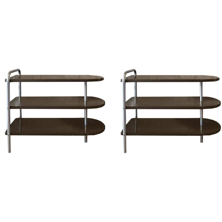 Pair of American Three-Tier Side Tables