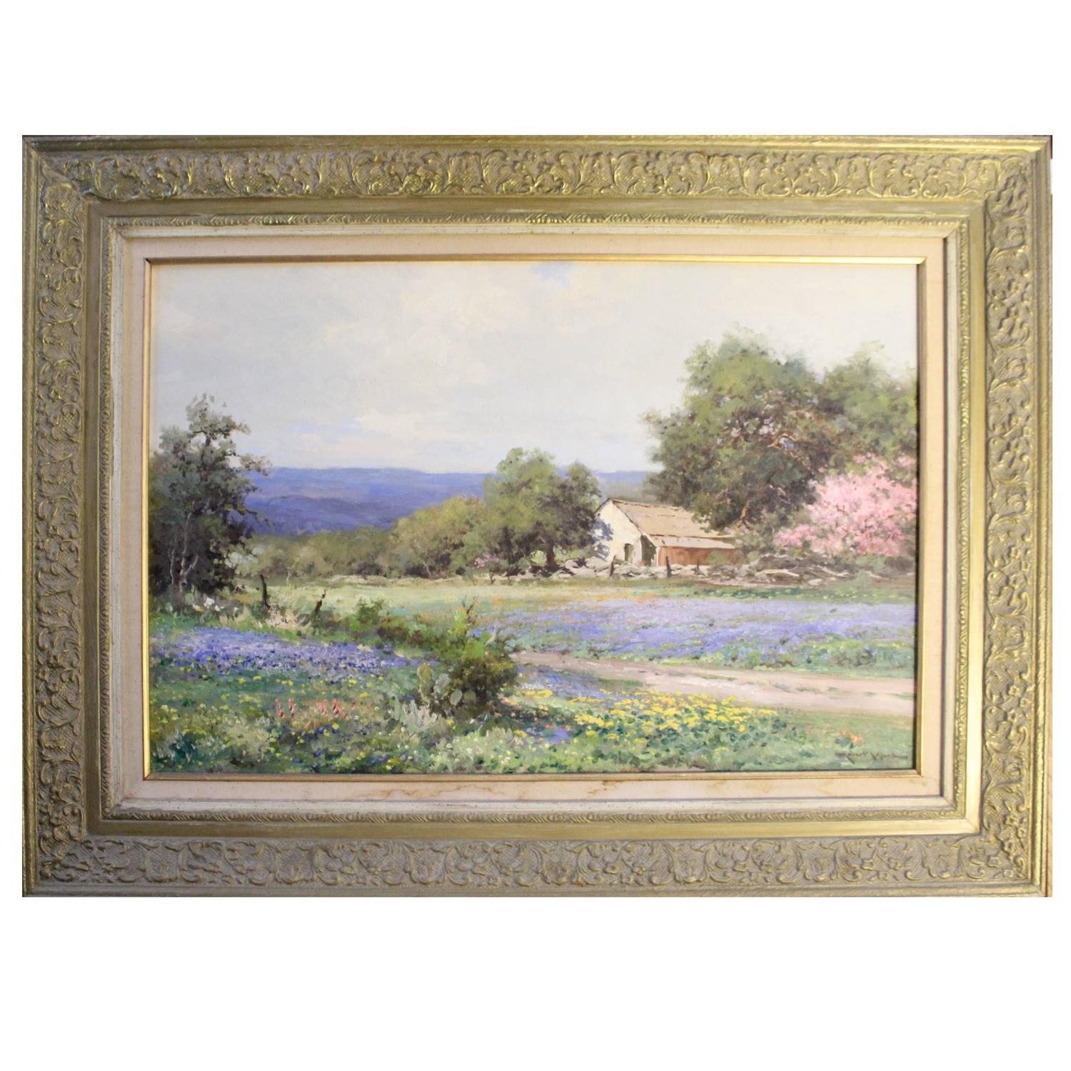 Robert Wood Texas Bluebonnets Oil Painting Circa 1969 For Sale At 1stdibs