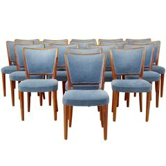 Large Set of 18 Birch Late Art Deco Dining Chairs