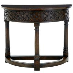 19th Century Oak Demilune Side Table