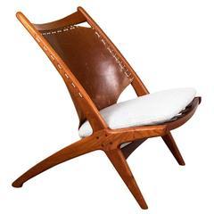 Fredrik Kayser Norwegian 'Cross' Teak Lounge Chair, 1950s