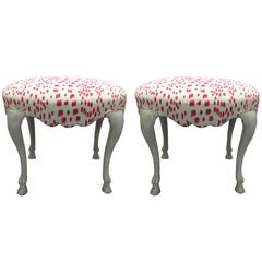 Curvy Hoof Leg Benches, Pair