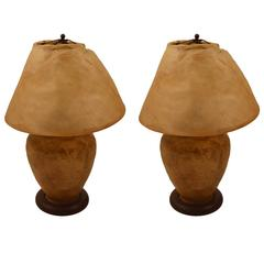 Pair of Deer Hide Arts and Crafts Lamps