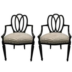 Hepplewhite Style Black Loop Back Armchairs, Pair